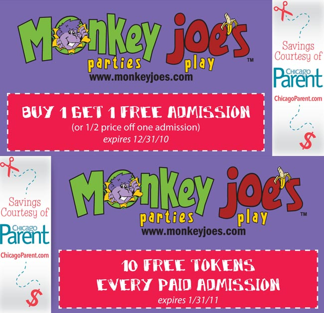 picture relating to Monkey Joes Coupons Printable named Monkey Joes BOGO and 10 Totally free Tokens! - Lombarddeals